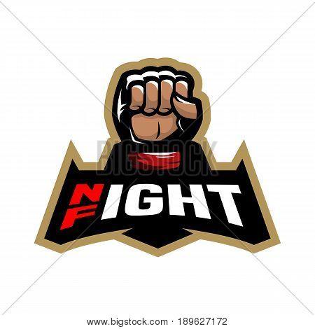 Night fight. Fighting logo design. Vector illustration