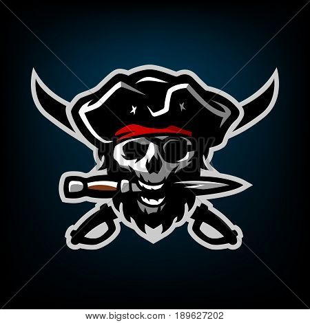 The skull of a pirate, with a dagger in his teeth, on a dark background.