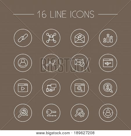 Set Of 16 Engine Outline Icons Set.Collection Of Arrangement, Url, SEO Test And Other Elements.