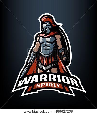 Warrior spirit. The Roman Warrior logo. Vector illustration