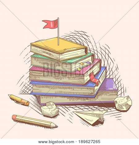 Stack of Books with Red Flag on the Top. Reach Your Goal. Education Concept Hand Drawn. Vector illustration