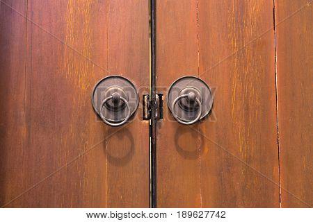close lock wooden door brown old design antique