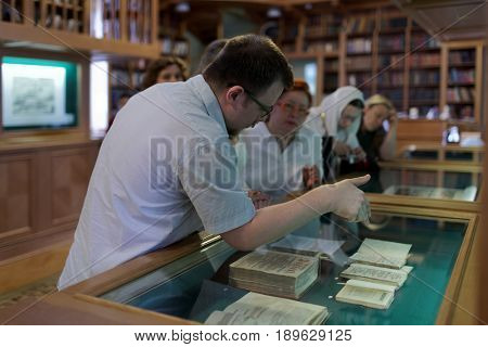 ST. PETERSBURG, RUSSIA - MAY 25, 2017: Opening of the exhibition Peter The Great And His Paradise in the building of National Library of Russia. Exhibition is dedicated to 314 anniversary of the city