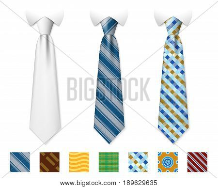 Customizable neckties vector templates with seamless textures set. Man necktie of set, illustration of tie with fashion pattern