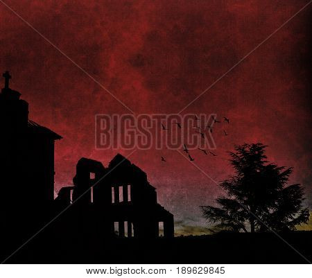 Silhouette of an abandoned orphanage, tree and flock of birds at dusk under a blood red sky. Grunge textured image with copy space.