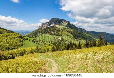 Amazing Spring Mountain Landscape With Stony Peak