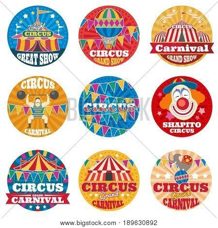 Circus vintage vector labels and emblems. Circus grand carnival colored logo illustration