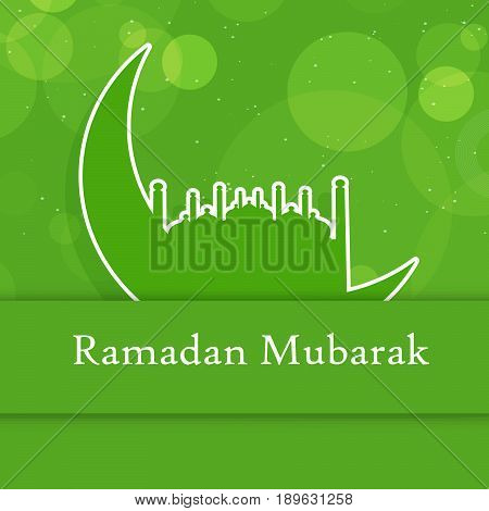 illustration of moon and mosque with Ramadan Mubarak text  on green background