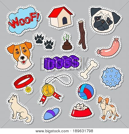 Funny Dogs Doodle with Puppy and Toys. Pet Stickers, Patches, Badges. Vector illustration