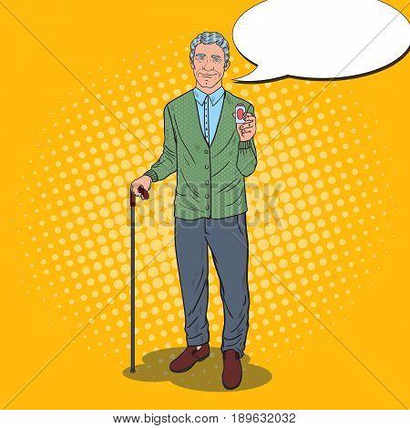 Pop Art Happy Senior Man Holding Pills. Health Care. Vector illustration