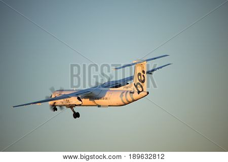 Amsterdam the Netherlands - June 2nd 2017: G-FLBB Flybe De Havilland Canada DHC-8-400 taking off from Polderbaan Runway Amsterdam Airport Schiphol
