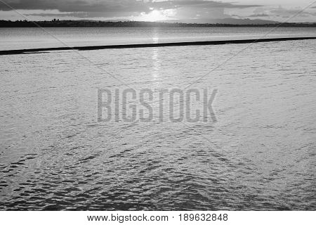 Pristine Beach At Wellington Point, Brisbane. Black And White