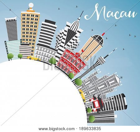 Macau Skyline with Gray Buildings. Blue Sky and Copy Space. Business Travel and Tourism Concept with Modern Architecture. Image for Presentation Banner Placard and Web Site.