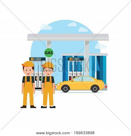 Gas petroleum petrol refill station power and fuel vector illustration.