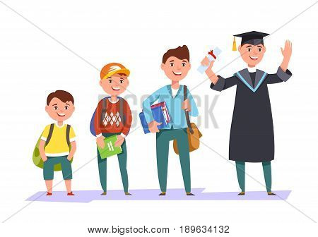 Set character different ages elementary school boysecondary schoolboy students of college university and graduate . The stages of growing up man student