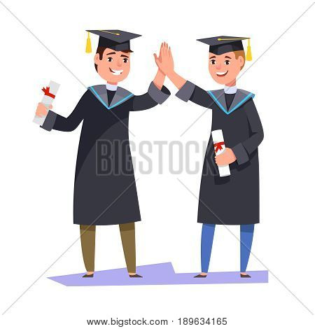 Couple happy smiling graduates man students friends in graduation gowns holding diplomas and congratulate each other raise high the hands. Vector illustration graduation ceremony flat style