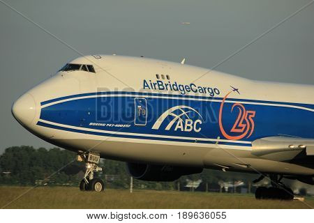 Amsterdam the Netherlands - June 1st 2017: VQ-BUU AirBridgeCargo Boeing 747-400F taking off from Polderbaan Runway Amsterdam Airport Schiphol