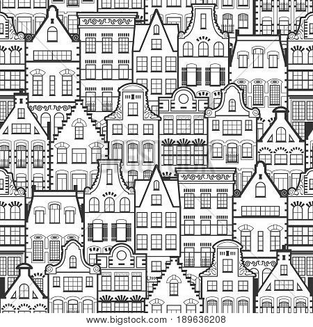 Seamless pattern of Holland old houses facades. Traditional architecture of Netherlands. Line style black and white vector isolated illustrations in the Dutch style. For coloring, design, background.