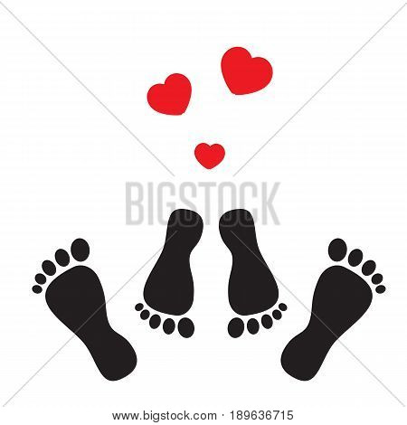 Feet symbolizing the occupation of sex and hearts