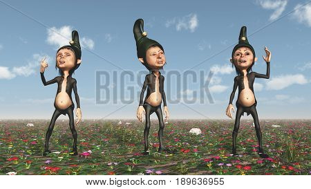 Computer generated 3D illustration with three dwarfs on a wildflower meadow