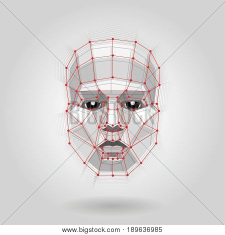 Polygonal human face on light. Futuristic Concept Abstract 3D Face by Shapes. Vector illustration