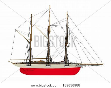 Computer generated 3D illustration with a side view of a gaff schooner isolated on white background