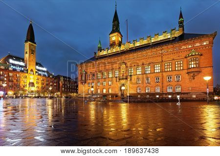 COPENHAGEN, DENMARK - NOVEMBER 5, 2016: Night view of the City Hall of Copenhagen. The building was erected in 1905 by design of the architect Martin Nyrop