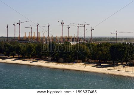 ROSTOV-ON-DON, RUSSIA - SEPTEMBER 28, 2015: Construction of new football stadium for upcomming FIFA World Cup in 2018. Rostov-on-Don will be one of the host cities for the championship
