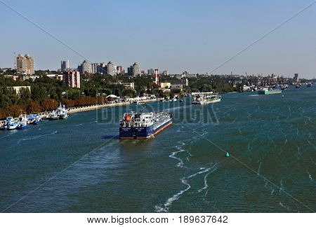 ROSTOV-ON-DON, RUSSIA - SEPTEMBER 28, 2015: Petroleum product tanker Lady Sevda go up the river Don. Port Rostov-on-Don is the largest transit point in the South of Russia