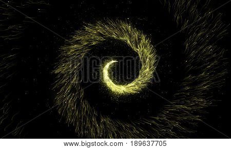 Gold glittering spiral trail of sparkling dust particles on black background. Twisted magic comet tail. Golden twirl spinning flying particles.