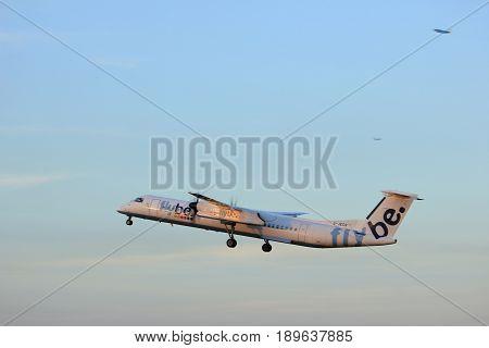 Amsterdam the Netherlands - June 1st 2017: G-JECN Flybe De Havilland Canada DHC-8-400 taking off from Polderbaan Runway Amsterdam Airport Schiphol