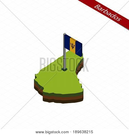 Barbados Isometric Map And Flag. Vector Illustration.