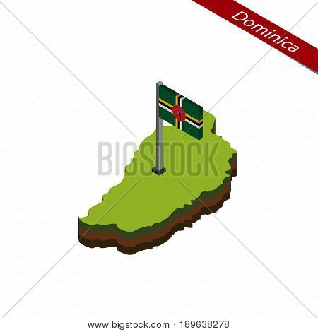 Dominica Isometric Map And Flag. Vector Illustration.