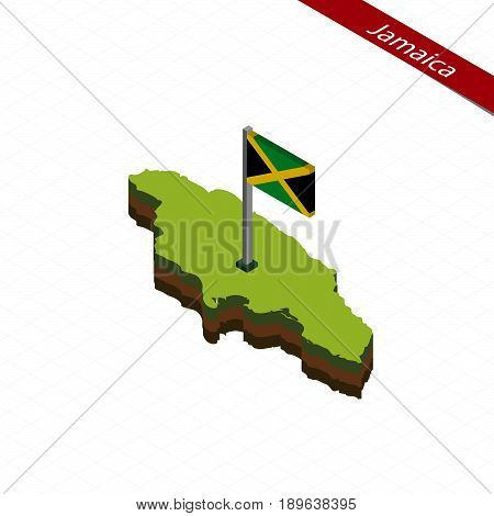 Jamaica Isometric Map And Flag. Vector Illustration.