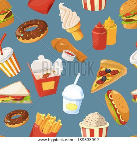 Fast food vector seamless pattern with cold water, sandwich and burger. Sandwich and water, chicken and burger illustration