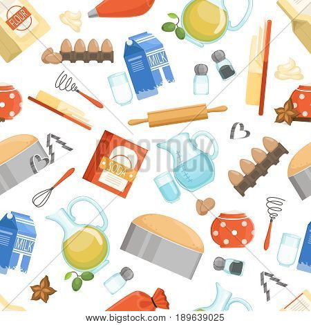 Different ingredients for cooking bakery foods. Vector seamless pattern in cartoon style. Background with cooking ingredient illustration
