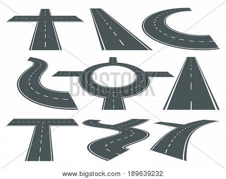 Vector set of pathway different roads. Speed curved symbol for logo design. Highway illustrations. Road direction and speed pathway