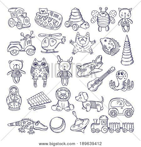 Vector drawing vintage collection of toys. Children games. Illustration isolate on white. Toys for game and play in cartoon style