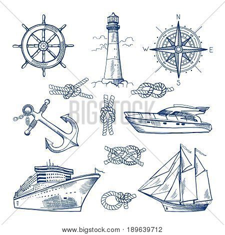 Marine doodles set with ships, boats and nautical anchors. Vector illustrations in hand drawn style. Ship and marine nautical boat doodle sketch