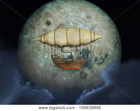 Computer generated 3D illustration with a fantasy airship in front of the moon