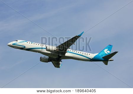 Amsterdam the Netherlands - June 2nd 2017: I-ADJU Air Dolomiti Embraer ERJ-195LR taking off from Polderbaan Runway Amsterdam Airport Schiphol