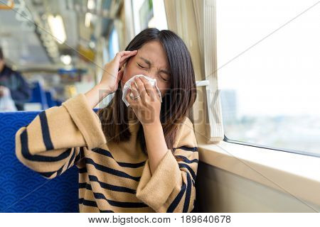 Woman suffer from sick inside train compartment