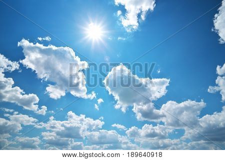 Deep blue sky and summer sun. Nature airscape.