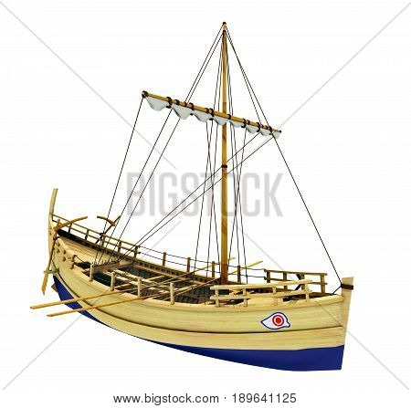 Computer generated 3D illustration with an ancient greek merchant ship isolated on white background