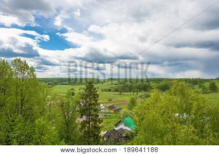 Panorama Of The Village Of Mikhailovskoye From The Bell Tower Of The Church Of The Holy Archangel Mi