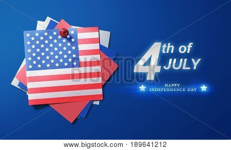 Usa American Flag Paper Pinned With 4Th Of July Message