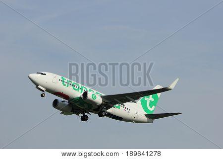 Amsterdam the Netherlands - June 2nd 2017: PH-XRD Transavia Boeing 737-700 taking off from Polderbaan Runway Amsterdam Airport Schiphol
