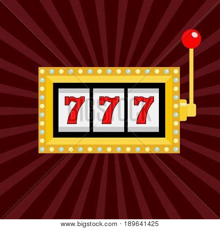 Slot machine. Golden color Glowing lamp light. 777 Jackpot. Lucky sevens. Red handle lever. Big win Online casino gambling club sign symbol. Flat design. Bordo starburst sunburst background. Vector
