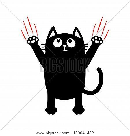 Cartoon black cat. Red bloody claws animal scratch scrape track. Cute funny character. White background. Isolated. Flat design. Vector illustration