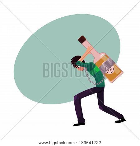Young man chained to huge bottle of liquor, carrying it on his back, alcohol dependence concept, cartoon vector illustrations with space for text. Man chained to alcohol bottle on his back